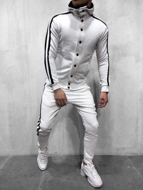 Striped Hooded Jacket and Pants Tracksuit - WHITE M