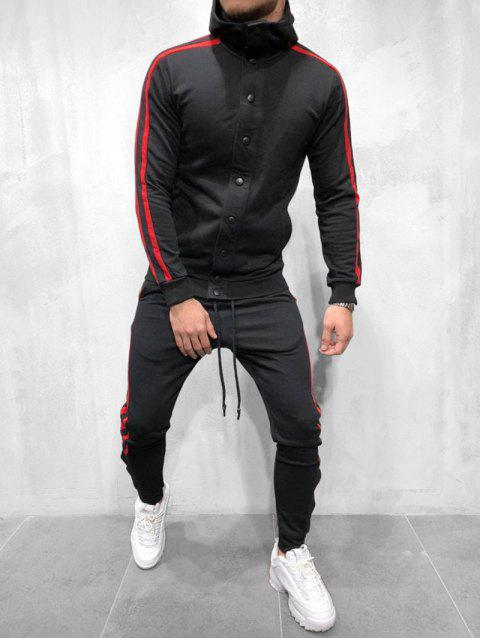 Striped Hooded Jacket and Pants Tracksuit - BLACK 3XL
