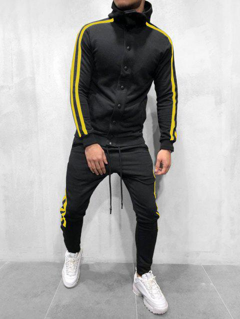 Striped Hooded Jacket and Pants Tracksuit - NIGHT 3XL