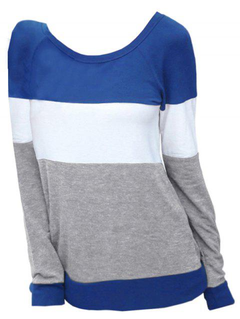 Round Neck Plus Size Color Block Sweatshirt - BLUE 2X