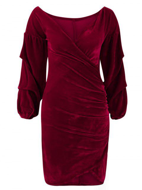 Wrap V Neck Velvet Asymmetrical Dress - RED WINE S