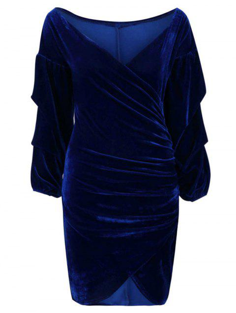 Wrap V Neck Velvet Asymmetrical Dress - DEEP BLUE M