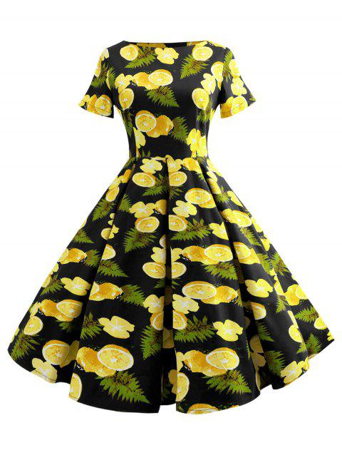 Vintage Lemon Print Pin Up Dress - BLACK XL