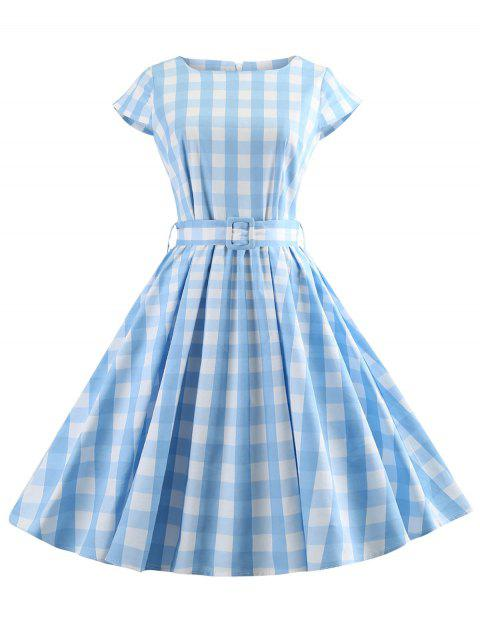 Retro Checked Fit and Flare Dress - SKY BLUE L