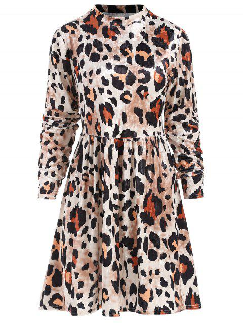 Long Sleeve Leopard Print Mini Dress - multicolor S