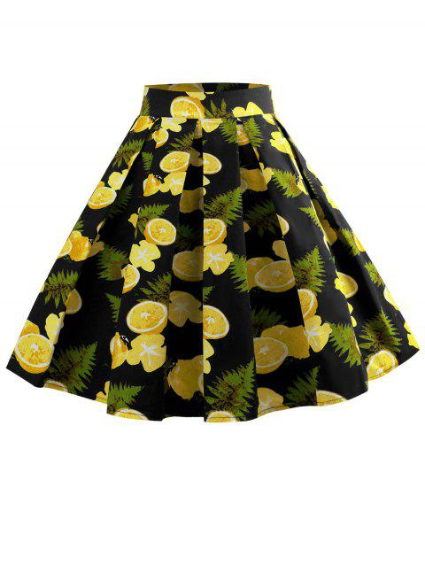 High Rise Leopard Print Pleated Skirt - YELLOW L