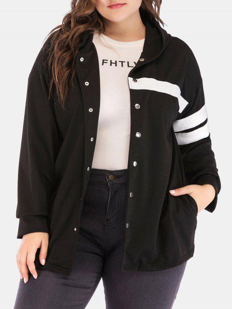 Plus Size Hooded Button Up Jacket - BLACK 2X
