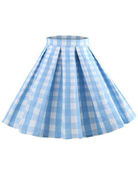 High Rise Checked Mini Pleated Skirt - LIGHT SKY BLUE L