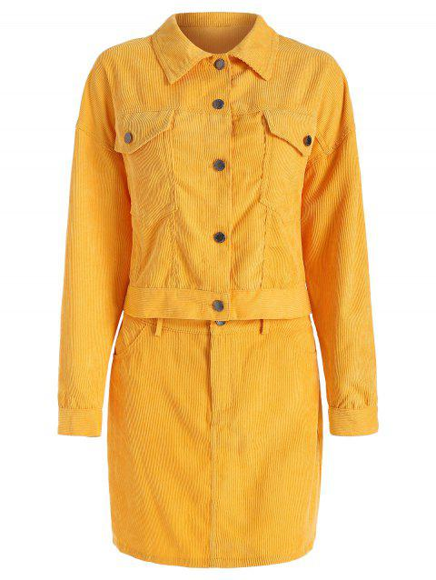 Solid Long Sleeve Two Piece Dress - YELLOW XL