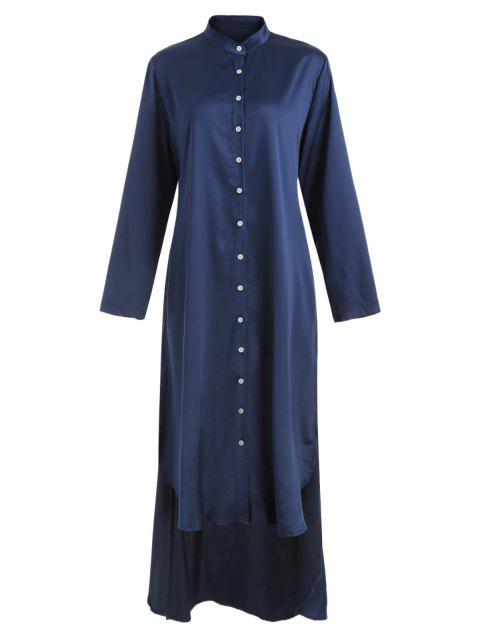Side Slit Stand Collar Casual Dress - DEEP BLUE M