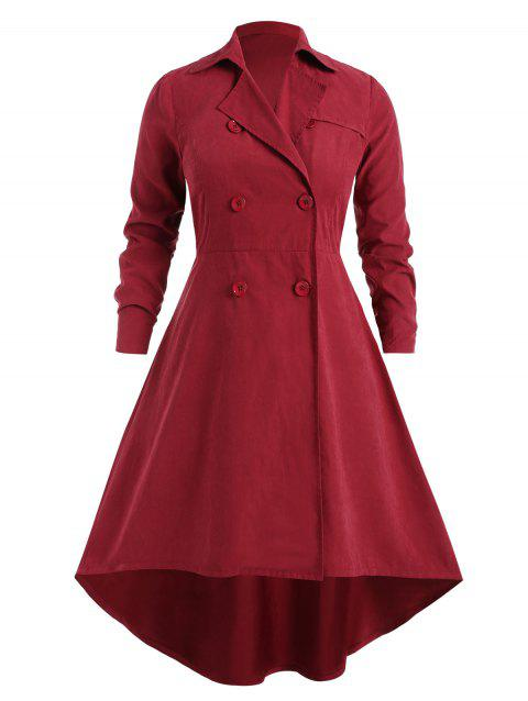 Plus Size Belted Asymmetrical Trench Coat - RED WINE 1X