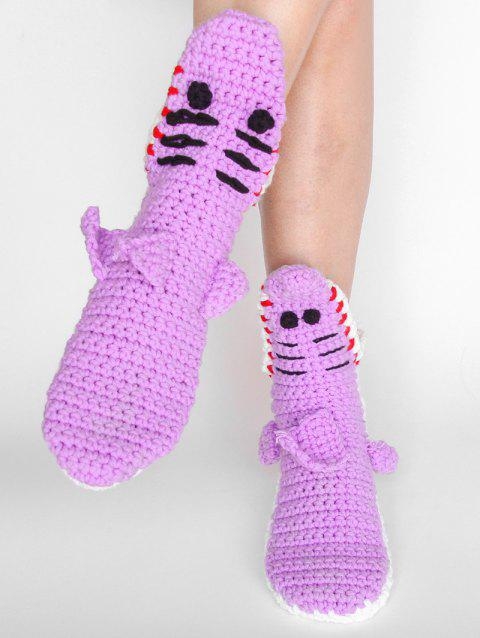 Cartoon Animal Knitted Winter Socks - TYRIAN PURPLE