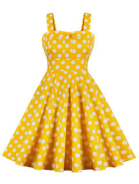 Vintage Polka Dot Flare Dress - SUN YELLOW L