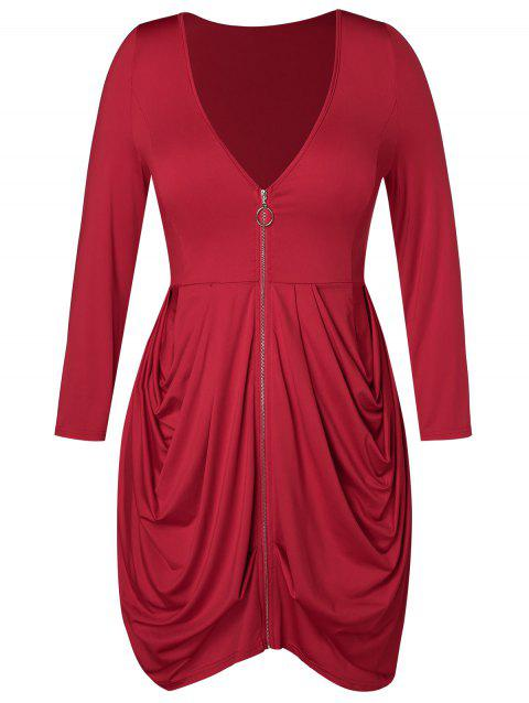 Plus Size Zip Fly Pleated Tulip T-shirt - RED WINE L