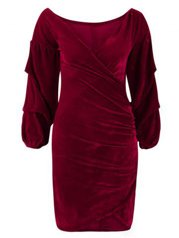 88d05f2e296 2019 Red Velvet Long Sleeve Dress Online Store. Best Red Velvet Long ...