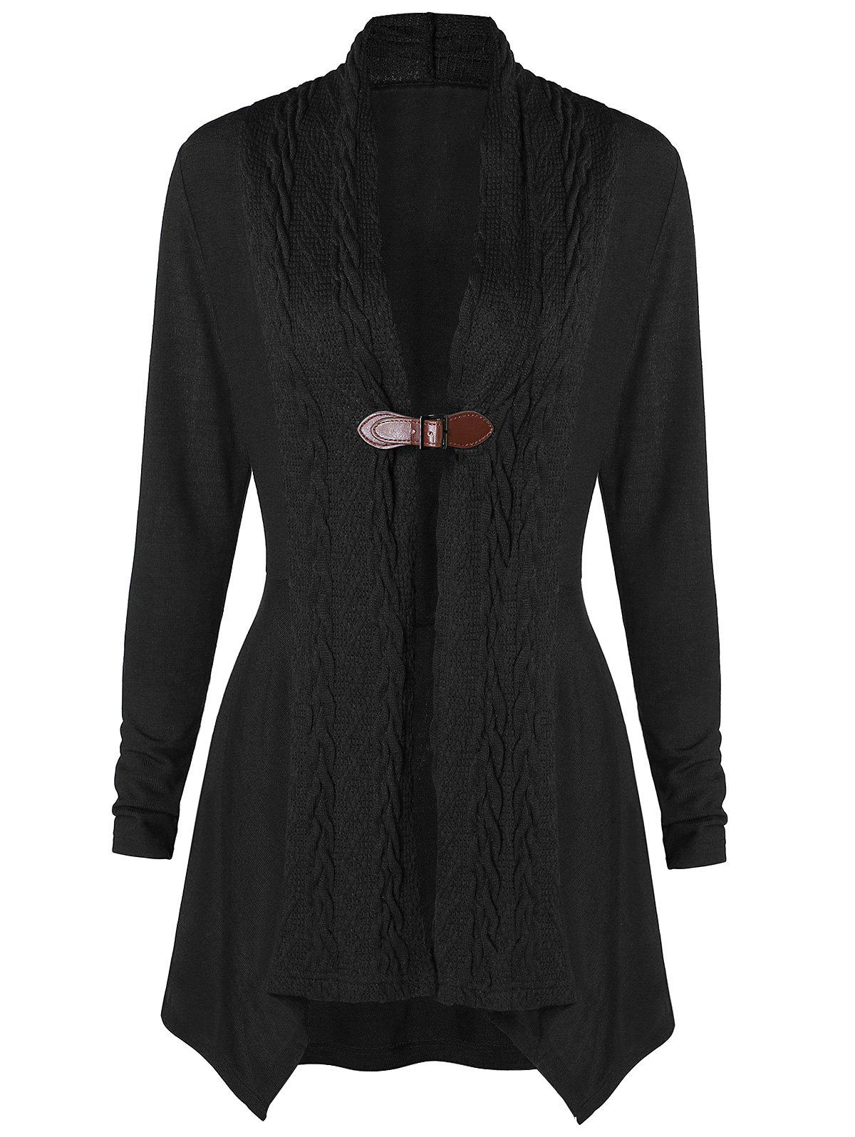 One Buckle Long Asymmetrical Cardigan - BLACK M