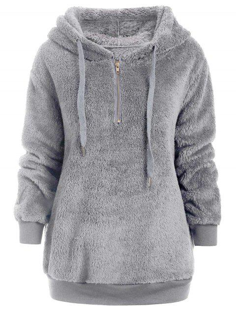 Half Zipper Faux Fur Drawstring Hoodie - LIGHT GRAY M