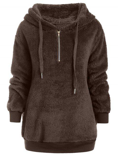 Half Zipper Faux Fur Drawstring Hoodie - BROWN BEAR M
