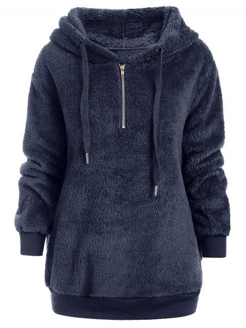 Half Zipper Faux Fur Drawstring Hoodie - CADETBLUE L