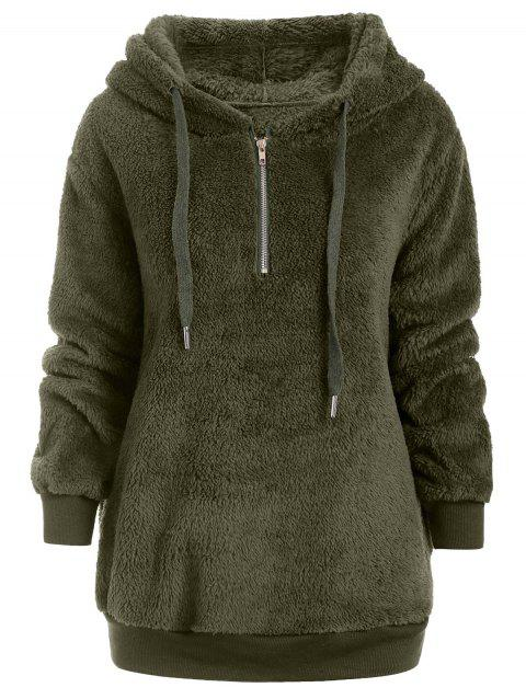 Half Zipper Faux Fur Drawstring Hoodie - FERN GREEN M