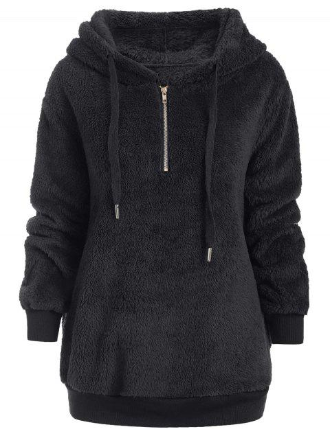 Half Zipper Faux Fur Drawstring Hoodie - BLACK S