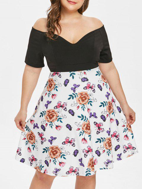Plus Size Plunge Floral Print Fit and Flare Dress - WHITE 3X