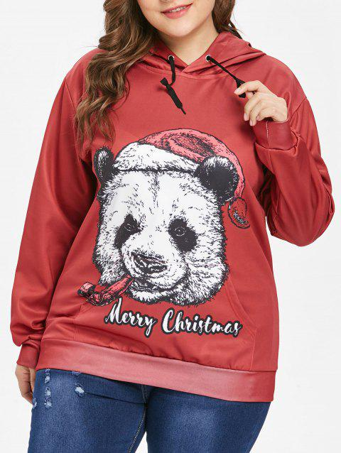Plus Size Xmas Panda Hoodie - RED WINE 2X