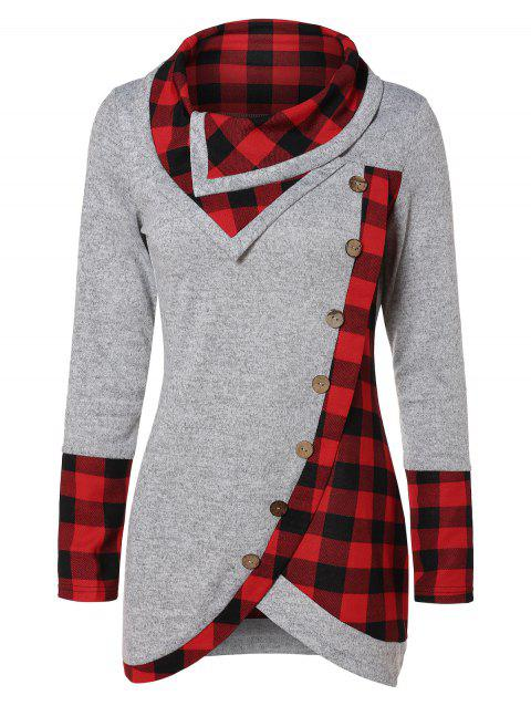 Turtleneck Tartan Tunic Sweatshirt - GRAY GOOSE L