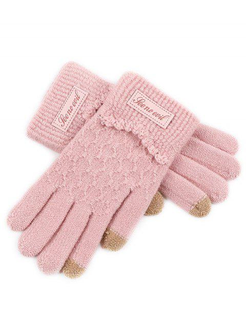 Contrast Slip-on Knit Gloves - PINK