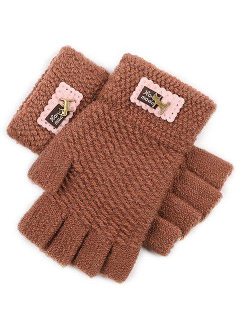Fingerless Knit Gloves - BROWN