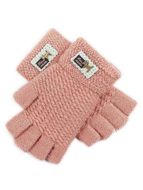 Fingerless Knit Gloves - ORANGE PINK