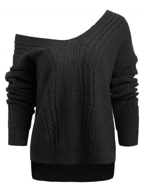 Low Cut V Neck Cable Knit Sweater - BLACK ONE SIZE