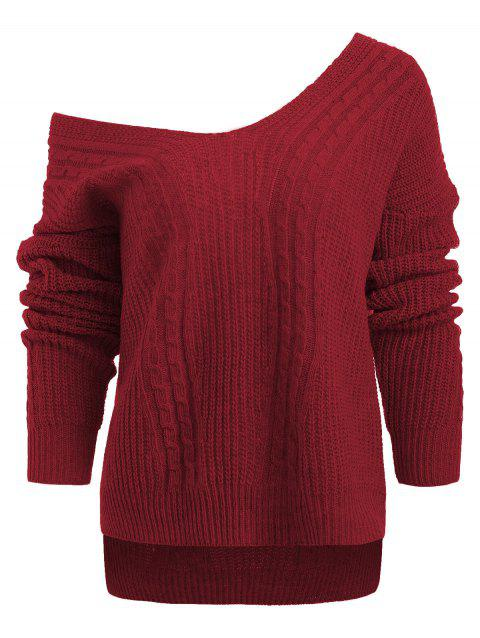 Low Cut V Neck Cable Knit Sweater - CHERRY RED ONE SIZE