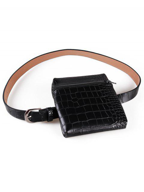 Zipper Fanny Pack Faux Leather Belt Bag - BLACK