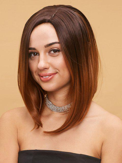 Medium Side Parting Straight Bob Colormix Party Synthetic Wig - multicolor
