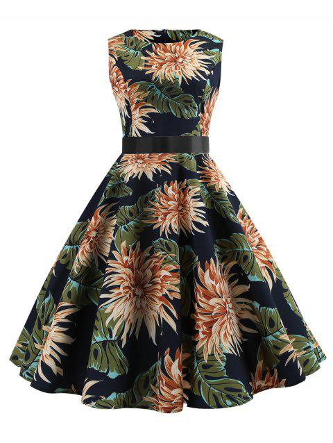 Flower Sleeveless Belted A Line Dress - multicolor 2XL