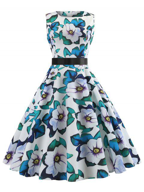 Sleeveless Bowknot Belted A Line Dress - multicolor M