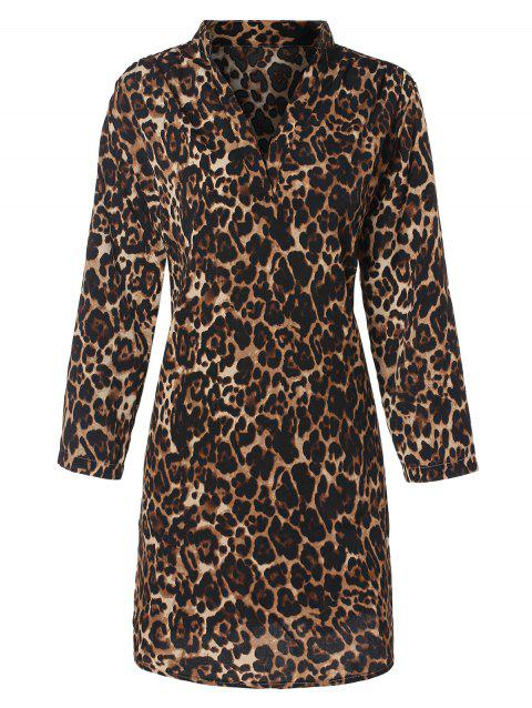 Leopard Print V Neck Mini Dress - LEOPARD XL