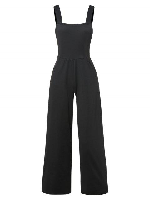 Plain Overall Wide Leg Jumpsuit - BLACK 2XL