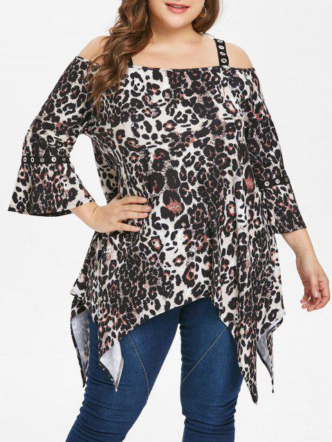 Plus Size Leopard Print Cold Shoulder T-shirt - BLACK 2X