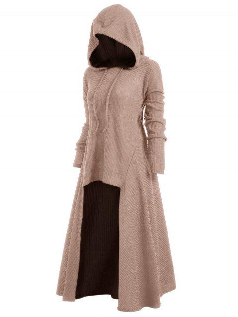 Hooded Plus Size High Low Sweater - CAMEL BROWN 2X