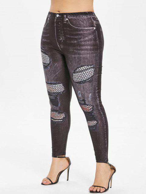 Plus Size Patterned Elastic Waist Leggings - BLACK 5X