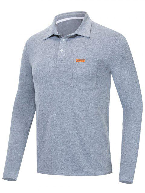 Solid Color Long Sleeve T Shirt - GRAY GOOSE M