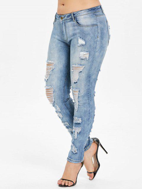 Plus Size High Rise Ripped Skinny Jeans - PALE BLUE LILY L