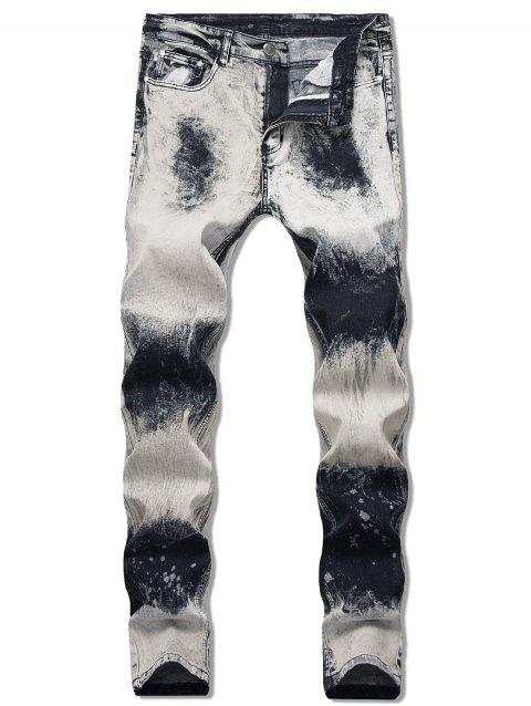 Paint Splatter Faded Jeans - LIGHT GRAY 40