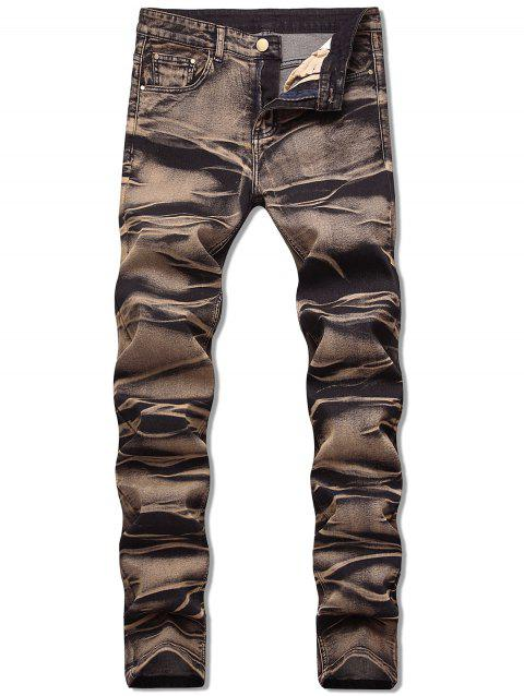 Zipper Fly Long Faded Jeans - multicolor B 34