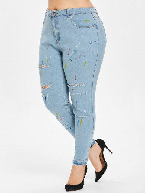Plus Size Scrawl Ripped Jeans - BABY BLUE 4X