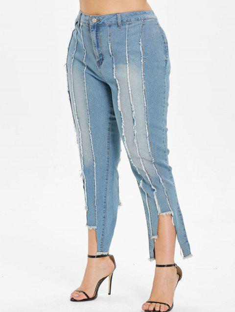 Plus Size Cropped Frayed Hem Jeans - BABY BLUE 3X