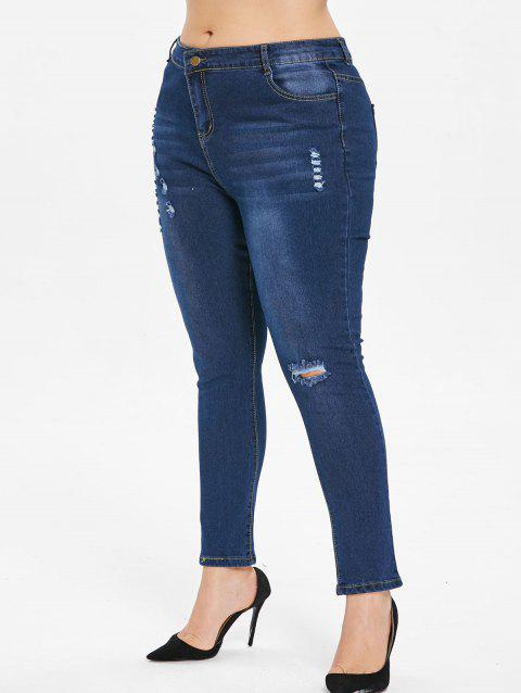 7112d3759e02f LIMITED OFFER  2019 Plus Size Dark Wash Ripped Jeans In DEEP BLUE 1X ...