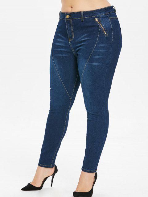 Plus Size Zip Embellished Dark Wash Jeans - DENIM DARK BLUE L